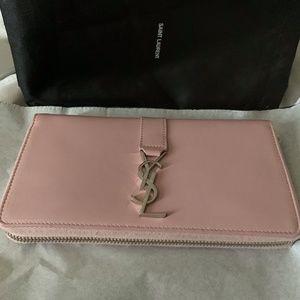 Saint Laurent Pink Large Ysl Zipped Wallet
